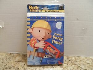 NEW BOB THE BUILDER 8 INVITATIONS  PARTY SUPPLIES WITH ENVELOPES