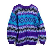 Icelandic Design Women's Hand-Knit Mohair Furry Colorful Sweater Sz Large #2559