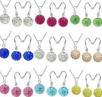 Hight Quality Silver Austria Crystal Disco Ball Necklace Earring Jewelry Set