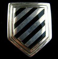 Vintage BAYANIHAN Sterling Silver Black Enamel Modernist Shield Pin 17 Grams 925