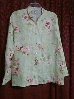 Match Point 100% Linen Floral Rose Print Blouse Overshirt Womens M Lagenlook