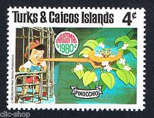 WALT DISNEY 1 FRANCOBOLLO TURKS & CAICOS ISLANDS PINOCCHIO 4c nuovo