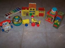 Fisher Price lot of 7 toys w/ play set pull a tune phone happy hauler tumbler