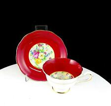 """ROYAL ALBERT CHINA MAROON AND CHINTZ BOUQUET 2 1/2"""" FOOTED CUP AND SAUCER SET"""