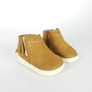 Wonder Nation Brown Fringe Infant Girls Sz 2 Faux Leather Baby Boots Non Marking