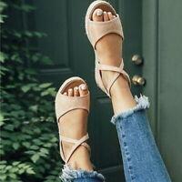 Womens Flat Platform Espadrilles Shoes Sandals Summer Beach Ankle Strap Peep Toe