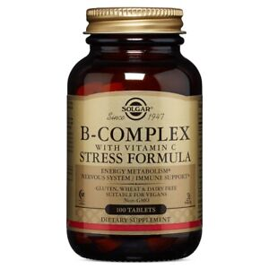 Solgar B-Complex with Vitamin C 100 Stress Formula Tablets FREE Shipping FRESH