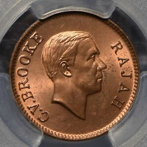 Sarawak 1937 Cent PCGS MS64RD rare in red PC0569 combine shipping