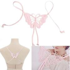 Women Decorative Fashion Sexy Cross Back Butterfly Bra Shoulder Straps Pink UP