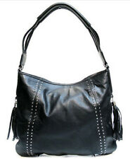 Black Large Studded Leather Tussle Handbag