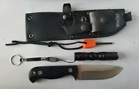 Fixed Blade Survival Hunting Knife Full Tang Fire Starter Flashlight & Pouch