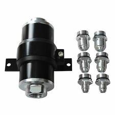 30 Micron AN6/AN8/AN10 Billet Aluminum Inline Fuel/Petrol Filter+Bracket Black