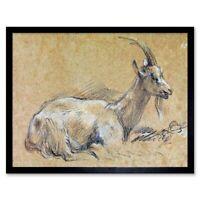Painting Sketch Animal Portrait Gainsborough Goat 12X16 Inch Framed Art Print