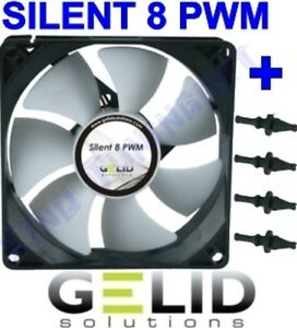 Fan Case PC 80mm Gelid Silent 8 Pwm Fan 80 4 Pin + 4