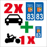 Lot 3 STICKERS 2 x AUTO+1x MOTO STYLE PLAQUE IMMATRICULATION DEPARTEMENT 83