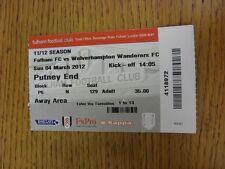 Billete De 04/03/2012: Fulham v Wolverhampton Wanderers. gracias por ver nuestra que