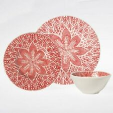 New with Box - Vietri Lace Red Three Piece Place Setting