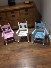 Childrens blue wooden rocking chair