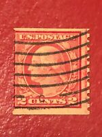 US SCOTT Cat # 491 Used 2c Guide Line Single COIL Stamp CV $800 FREE SHIPPING