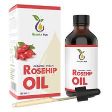 Bio Hagebuttenöl (Wildrosenöl) 120ml, 100% rein kaltgepresst vegan Gesicht Haut
