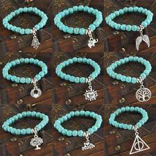 Bracelet For Women Men Beads Turquoise Stone Bangle Animal Pendants Charm Gifts