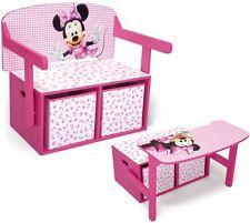 Kinderbank Disney Minnie Mouse 3in1 Bank Tisch Aufbewahrung Spielzeugkiste Holz