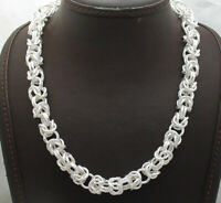 Sparkle Diamond Cut Round Byzantine Chain Necklace Real Sterling Silver 925