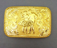 Crumrine Western Belt Buckle Bronze Square Dancing Couple Gold Plate Vintage