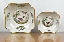 "VTG Limoges France Exotic Birds of Paradise Candy Dish Serving Bowls - 7"" and 5"""