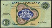 1968 BANK OF SCOTLAND £5 BANKNOTE * A 0582691 * FIRST * aVF *