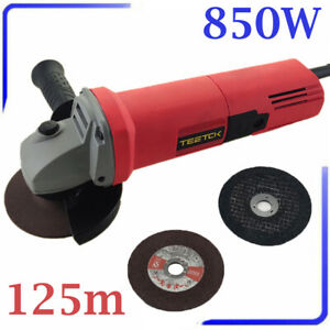 850W 125mm Electric Angle Grinder Sander Wood Metal Cutting Grinding 2 Discs