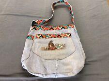 HANDCRAFTED Southwestern Native American Denim Blue Jean Shoulder Tote Bag