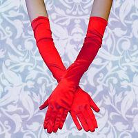 "Fashion 23"" Women Arm Long Satin RED Gloves Evening Party Bridal Wedding Opera"