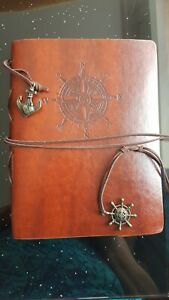 Vintage Photo Album Brown Leather Cover 1940s Handmade.