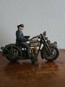 Vintage XONEX  Cast Iron Harley Davidson Motorcycle W/ Police Man