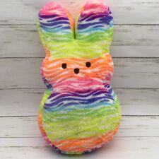 "2016 Peeps Easter Tie Neon Zebra Rabbit Bunny Plush 16"""