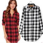 Women Button Down Plaid Check Lapel Tartan Long Sleeve Top Long Blouse T-Shirt