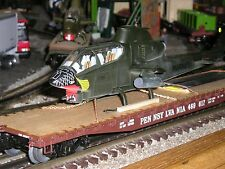 "Military Custom Lionel""O""Gauge Toy Trains Flat Car w/Army Cobra Helicopter"