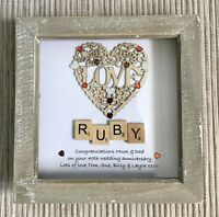 Personalised Handmade 40th Ruby Wedding Anniversary Wooden  Scrabble Gift Frame