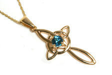 """9ct Gold London Blue Topaz Celtic Cross Pendant and 18"""" Chain Made in UK Xmas"""