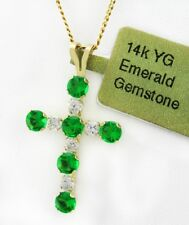 GREEN 0.60 Cts EMERALDS CROSS PENDANT 14k YELLOW GOLD *** Brand New With Tag