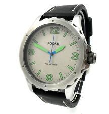 Fossil Nate señores reloj reloj pulsera de acero inoxidable cuero negro jr1461 nuevo