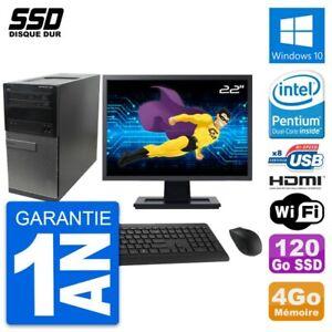 """PC Tour Dell 390 MT Ecran 22"""" Intel G630 RAM 4Go SSD 120Go HDMI Windows 10 Wifi"""