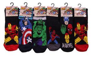 6 PAIRS MENS MARVEL COMICS SUPER HERO NOVELTY SOCKS SUPER MAN HULK CPT AMERICA