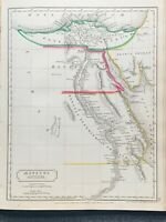 1829 ANCIENT EGYPT HAND COLOURED ANTIQUE MAP BY SIDNEY HALL 191 YRS OLD