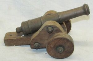 """Vintage 7"""" Brass/Bronze Cannon with Wood Carriage C"""