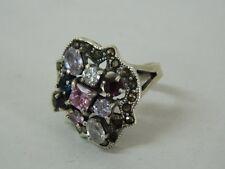 Anello in Argento e Zirconi colorati rosa bianchi vintage OMA19