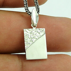 Tag Pendant 925 Solid Sterling Silver HANDMADE Indian Jewelry V53