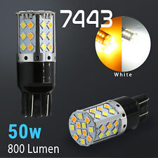 White/Amber 7443 LED DRL Switchback Turn Signal Parking Light Bulbs Dual Color