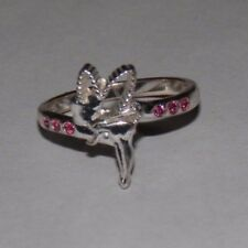Disney Faeries 925 Sterling Silver Tinker bell Pink Crystal Ring Size 6